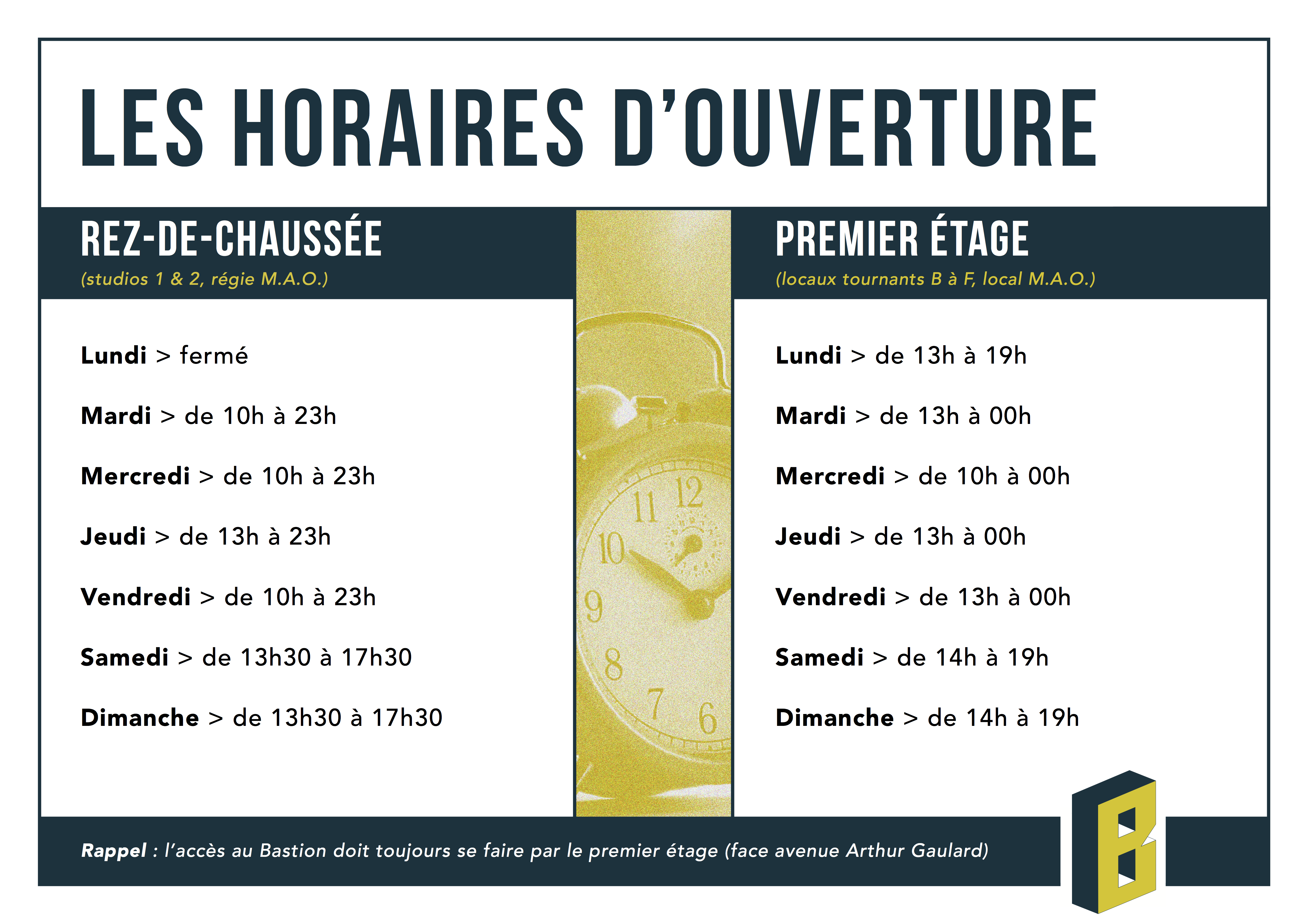 lower price with preview of classic style Horaires - Association Le Bastion